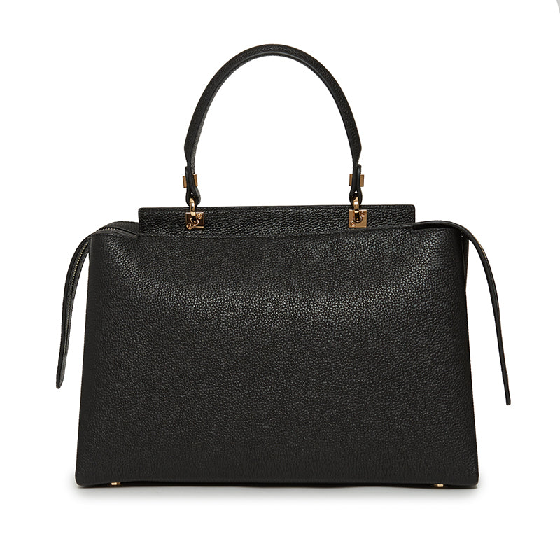 Double Zip Satchel in Ebony