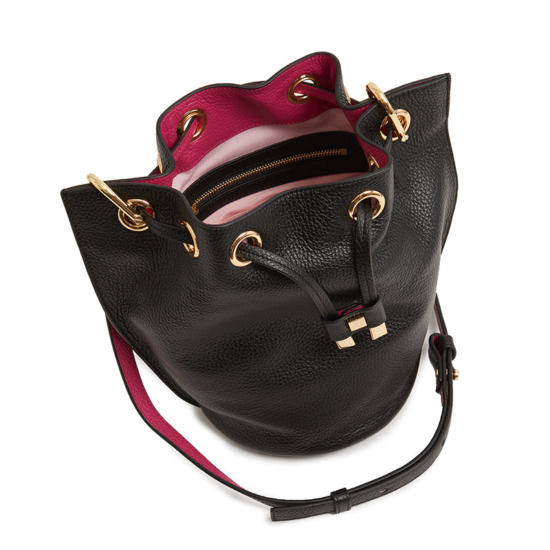 Carla Mini Bucket in Ebony/Fuchsia