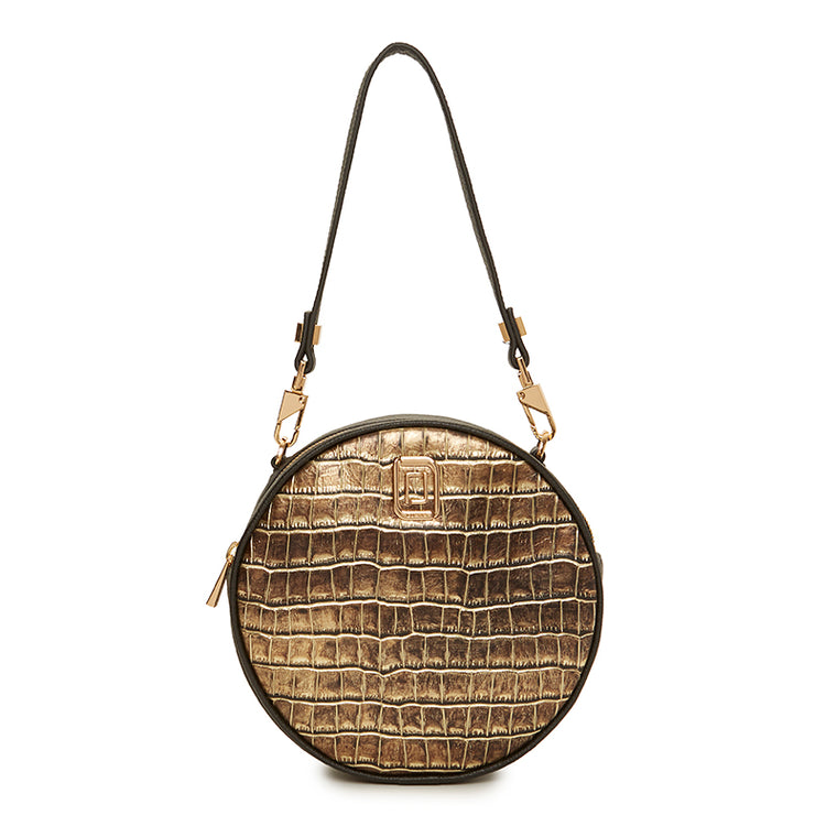 Carla Round Bag Natural Croc / Ebony