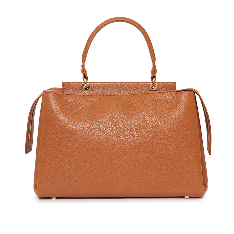 Double Zip Satchel in Chestnut