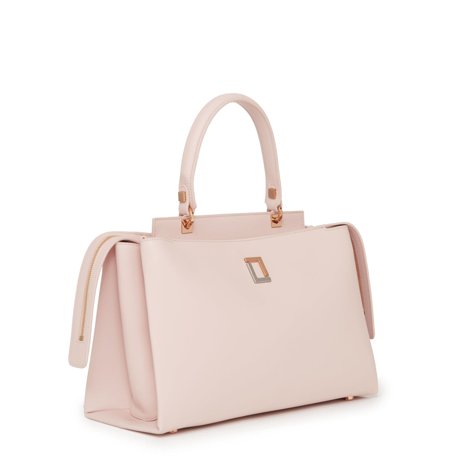 Double Zip Satchel Rose Smoke