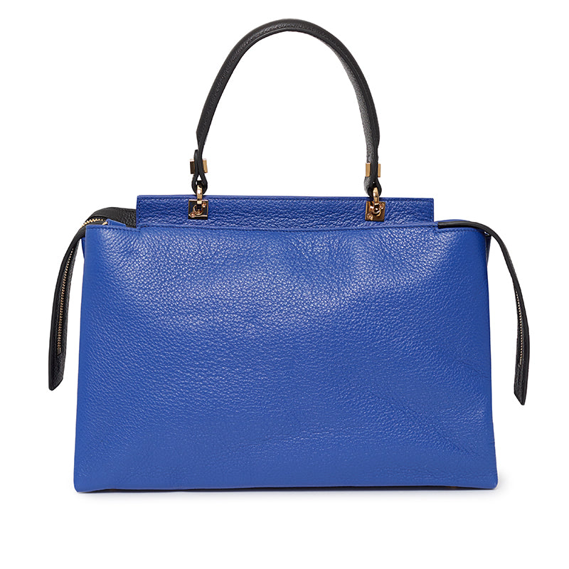 Double Zip Satchel in Ultramarine