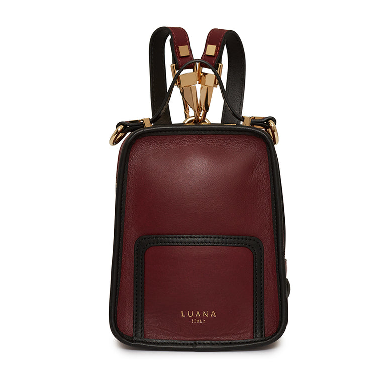 Margherita Mini Backpack in Burgundy/Ebony