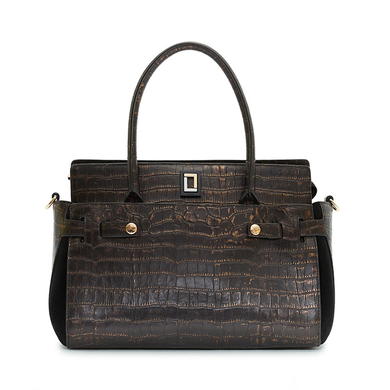 Margherita Satchel in Natural Croc