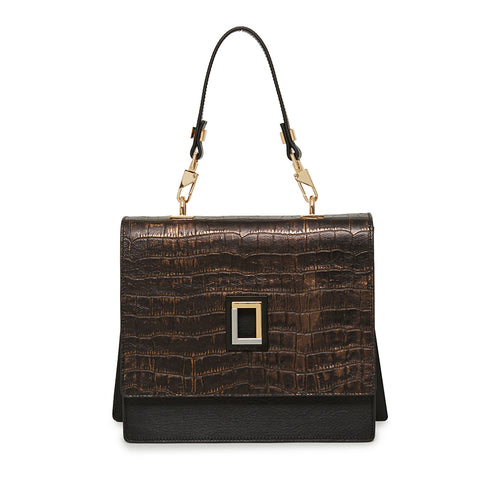Marianna Satchel in Natural Croc/Ebony