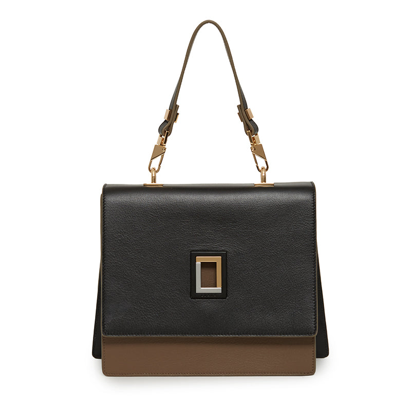 Marianna Satchel in Ebony/Taupe