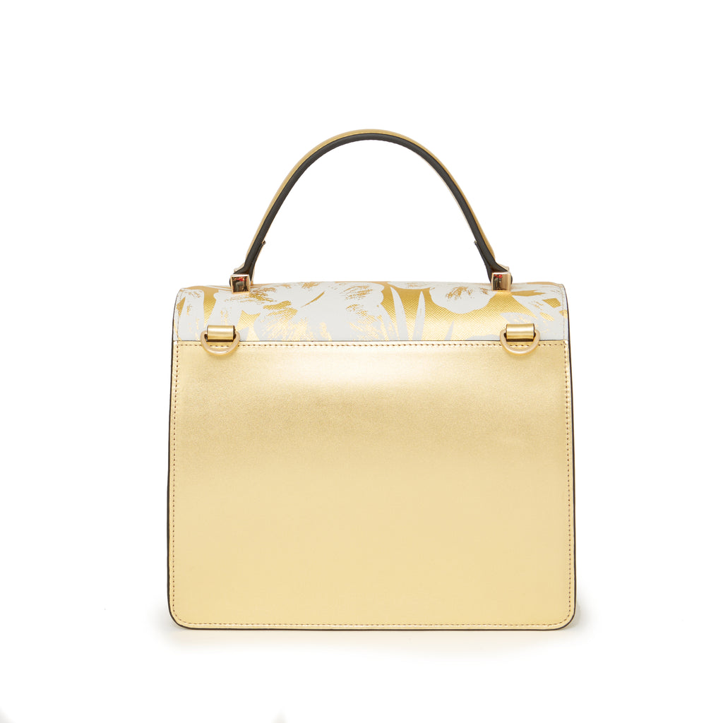 Maria Satchel Gold Palm