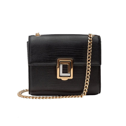 Marella Mini Shoulder Bag Black Lizard