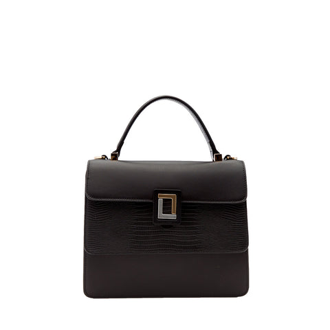 Maria Satchel Black/Black Lizard