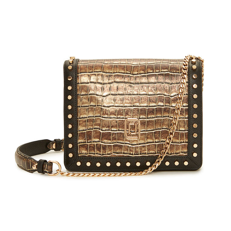 Mimi Shoulder Bag Natural Croc/Ebony