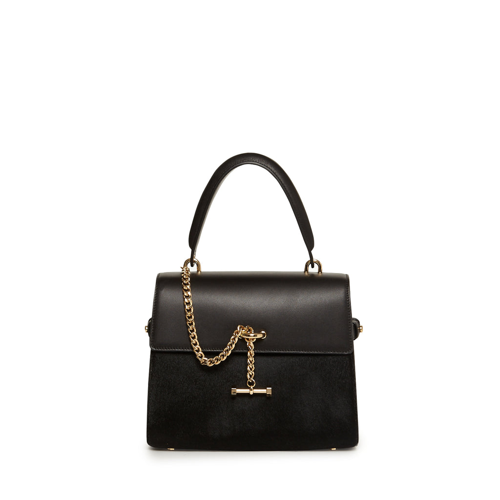 Paley Mini Satchel Hair Calf Ebony