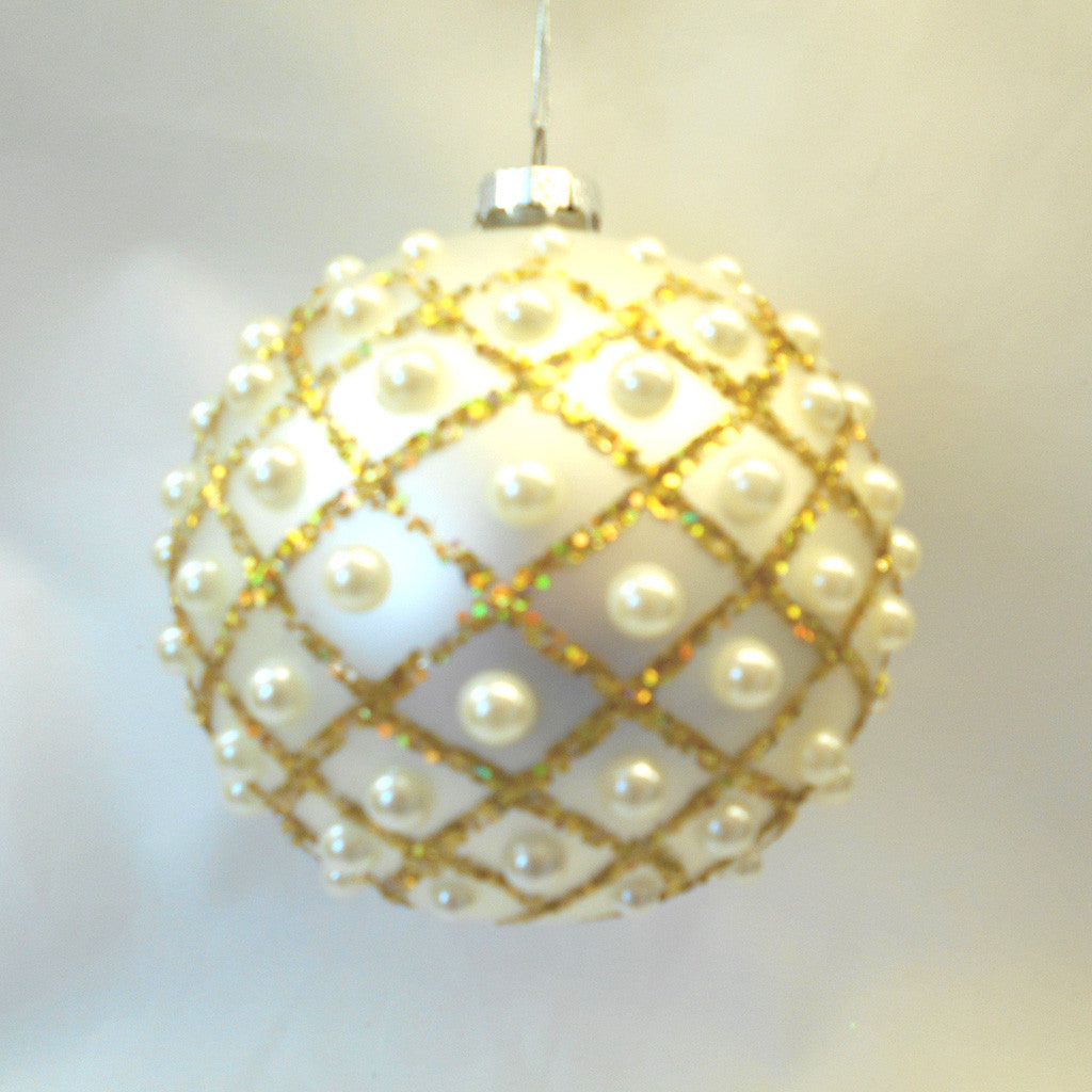 Glass Bauble with Pearls Ornament