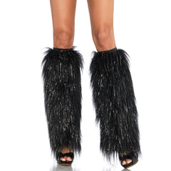 Black and Silver Furry Leg Warmers