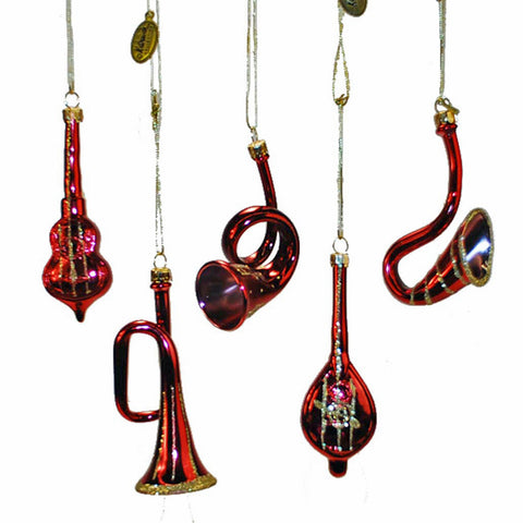 Glittered Red Instrument Ornament Collection