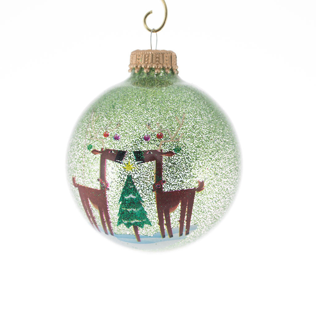Sparkle Lime Green Reindeer Ornament S/4