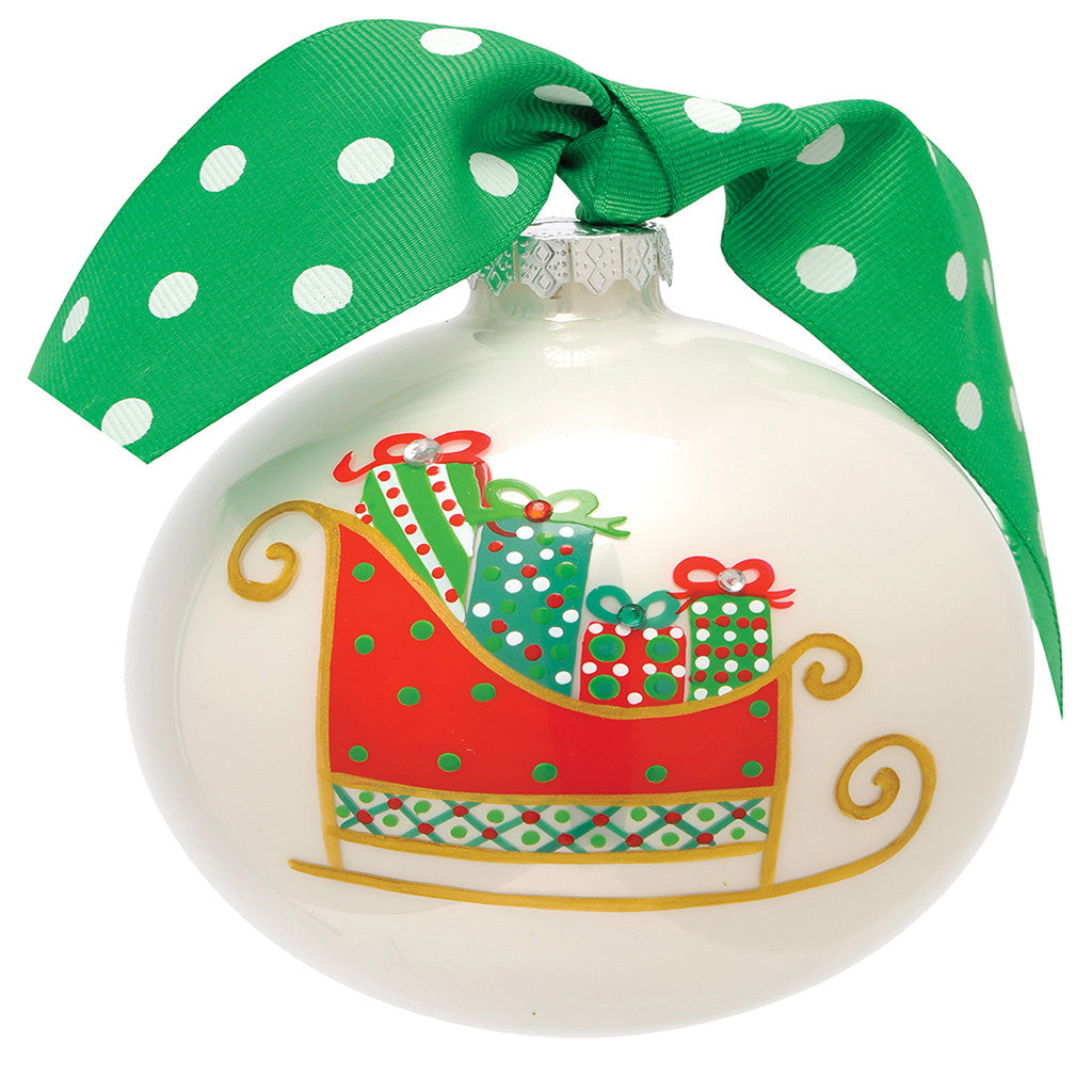 Gift Filled Sleigh with Rhinestones Ornament