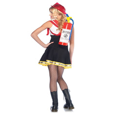Sweetheart Fireman Tween Girls Costume Back View