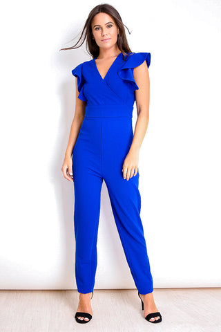 Reduced!! Scarlett Cobalt V-Neck Frill Sleeve Jumpsuit