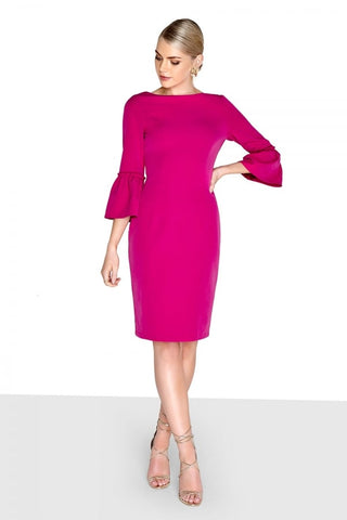 £20 sale Magenta Fluted Sleeve Pencil Dress