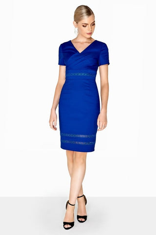 Cobalt Wrap Front Pencil Dress