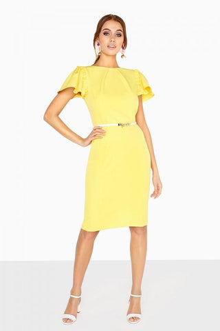 Yellow Buttercup Pleat Neck Pencil Dress