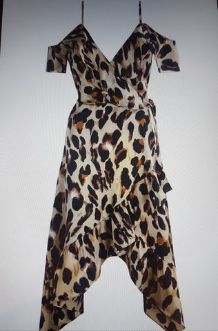 New arrival... Leopard wrap over off shoulder cami dress