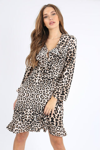 New arrival...leopard print ruffle wrap dress
