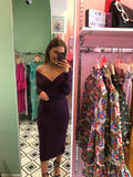 Stunning violet long sleeve ruched dress