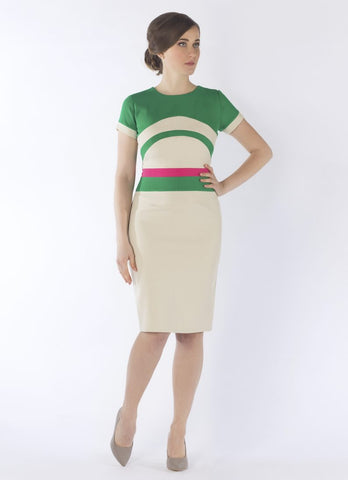 New arrivals ...serena dress beige /green/pink