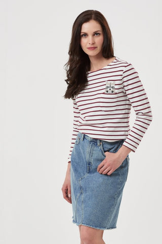 Discount Event 25% off.....burgundy stripe .brighton rocky racoon breton top
