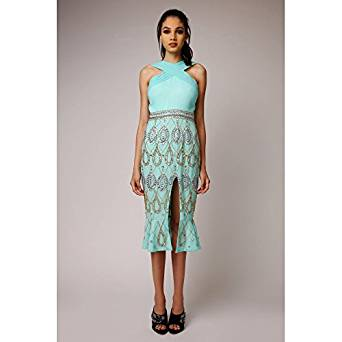 Now Reduced...Dasha Aqua Embellished Fishtail Midi Dress