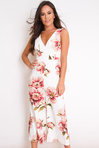 Polly White Floral V-Neck Culotte Jumpsuit