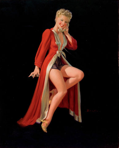 Pin-Up Girl Wall Decal Poster Sticker - Blonde Pin-Up in Red Robe - Pinup Pin Up