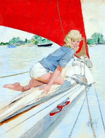Pin-Up Girl Wall Decal Poster Sticker - Blonde Pin-Up on Sailboat - Pinup Pin Up