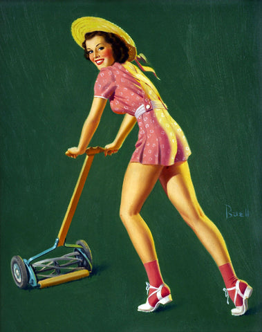 Pin-Up Girl Wall Decal Poster Sticker - Brunette Mowing Grass - Pinup Pin Up