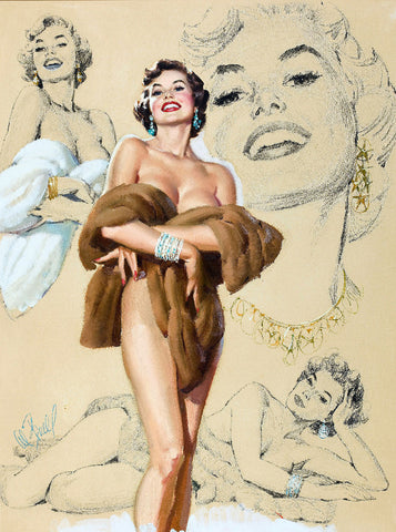 Pin-Up Girl Wall Decal Poster Sticker - Glamour Pin-Up Study - Brunette Pinup Pin Up