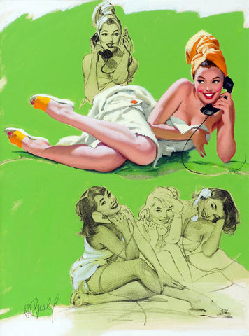 Pin-Up Girl Wall Decal Poster Sticker - Party Line - Brunette Pinup Pin Up