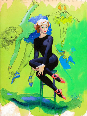 Pin-Up Girl Wall Decal Poster Sticker - Pin-Up in Blue - Red Hair Readhead Pinup Pin Up