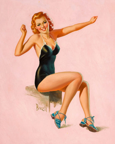 Pin-Up Girl Wall Decal Poster Sticker - Seated Redhead in Swimsuit - Red Hair Pinup Pin Up