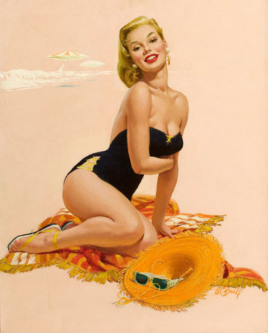 Pin-Up Girl Wall Decal Poster Sticker - Sunbather - Blonde Pinup Pin Up