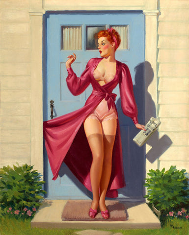 Pin-Up Girl Wall Decal Poster Sticker - Caught in the Door - Red Hair Redhead Pinup Pin Up