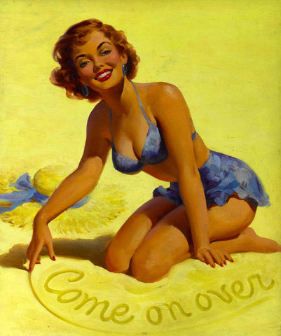 Pin-Up Girl Wall Decal Poster Sticker - Come On Over - Blonde Pinup Pin Up