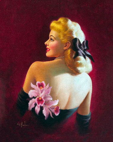 Pin-Up Girl Wall Decal Poster Sticker - Glamour Pin-Up with Pink Orchids - Blonde Pinup Pin Up