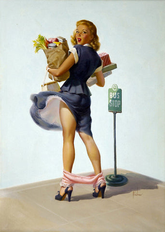 Pin-Up Girl Wall Decal Poster Sticker - O-Ooh!, 1950 - Blonde Pinup Pin Up