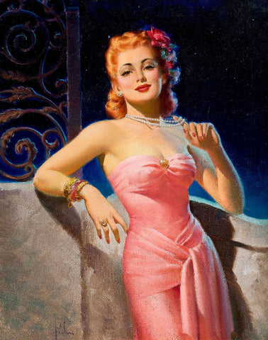 Pin-Up Girl Wall Decal Poster Sticker - Peg O' My Heart - Red Hair Redhead Pinup Pin Up