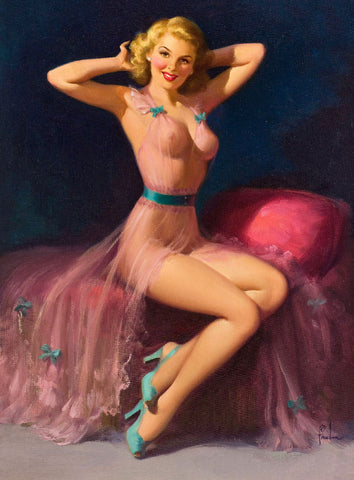 Pin-Up Girl Wall Decal Poster Sticker - Pin-Up in Pink - Blonde Pinup Pin Up