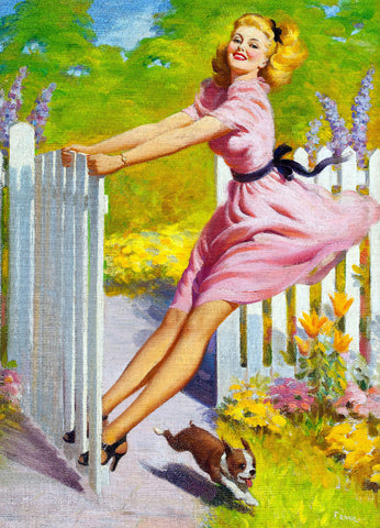 Pin-Up Girl Wall Decal Poster Sticker - Playtime, 1949 - Blonde Pinup Pin Up