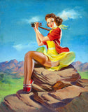 Pin-Up Girl Wall Decal Poster Sticker - The Look Out - Brunette Pinup Pin Up
