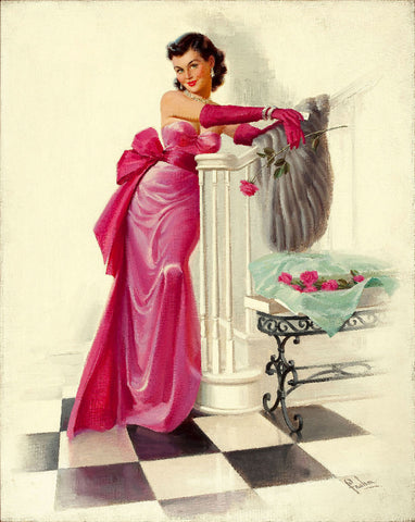 Pin-Up Girl Wall Decal Poster Sticker - The Pink Dress - Brunette Pinup Pin Up