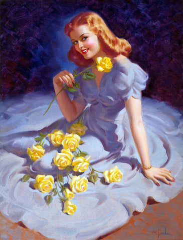 Pin-Up Girl Wall Decal Poster Sticker - The Yellow Roses - Red Hair Redhead Pinup Pin Up